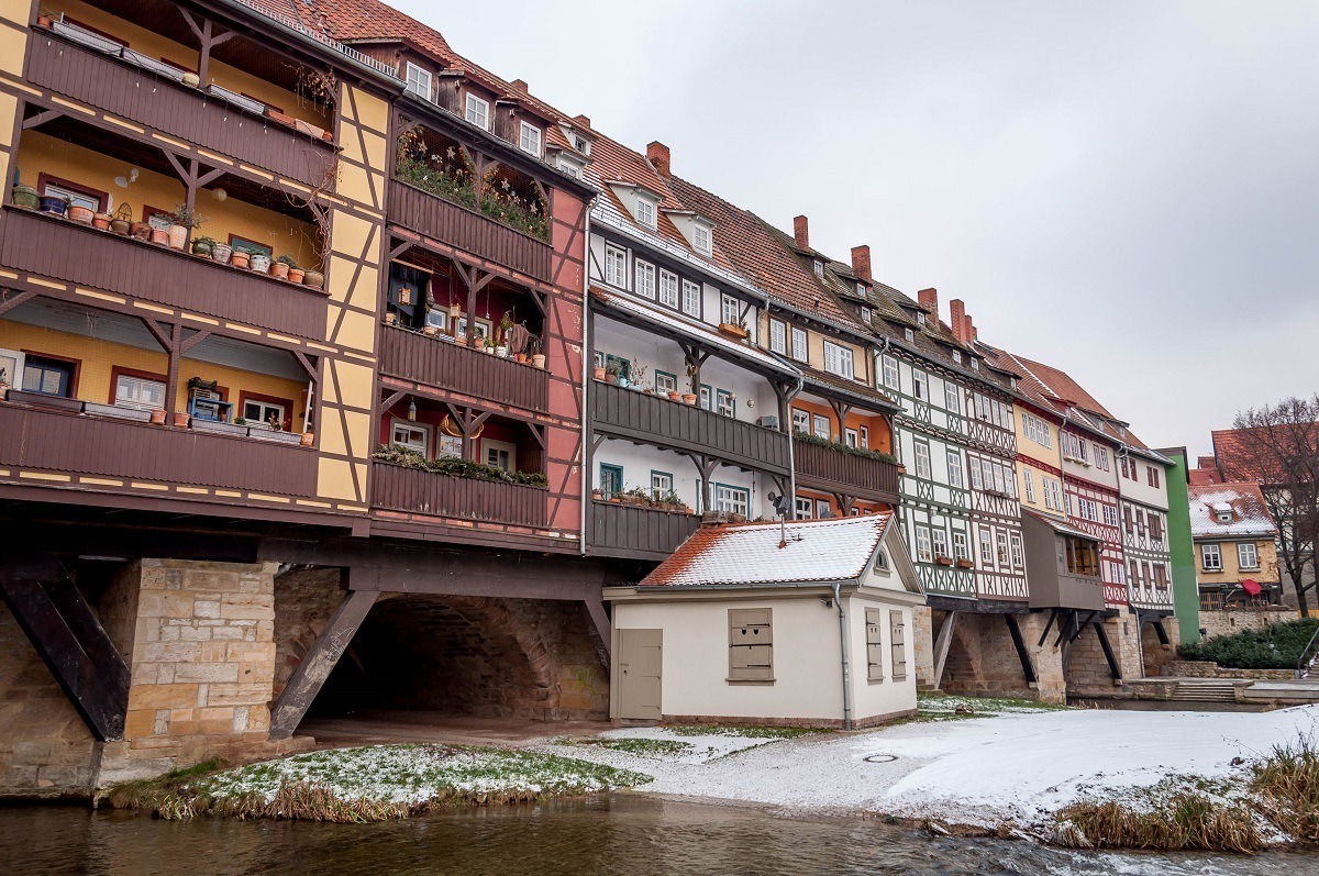 The bridge over the river in Erfurt, Germany.