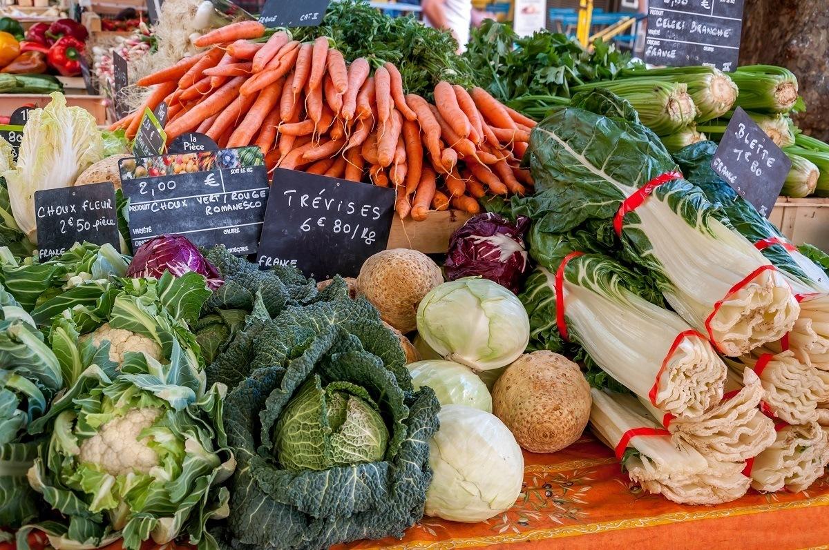 Vegetables for sale at the Aix-en-Provence market