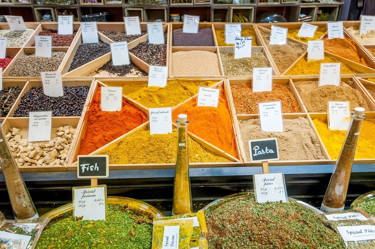 Spices at the Les Halles market in Avignon, one of the top markets in Provence