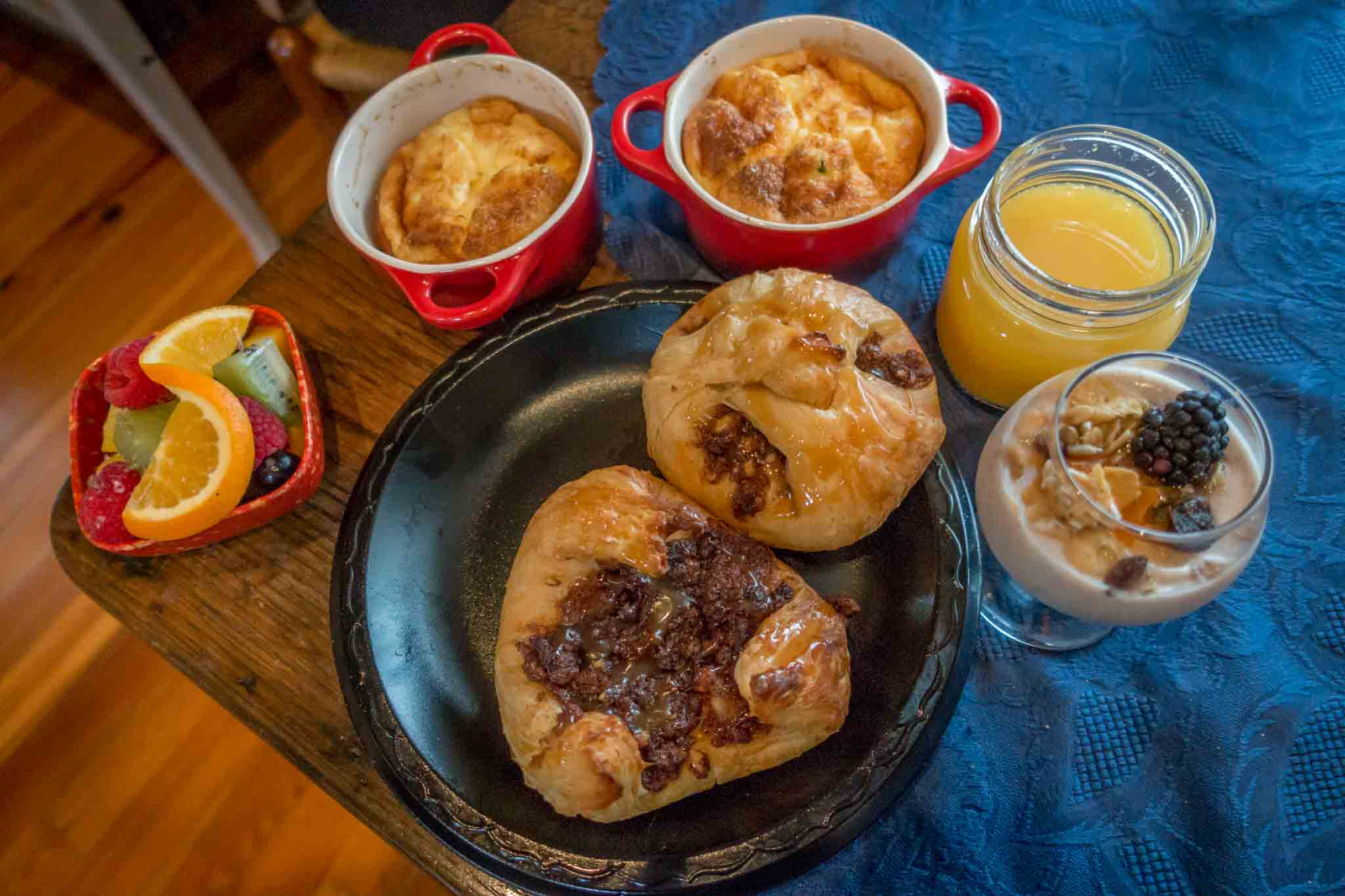 Souffles and pastries for breakfast at a B&B in Fredericksburg, Texas