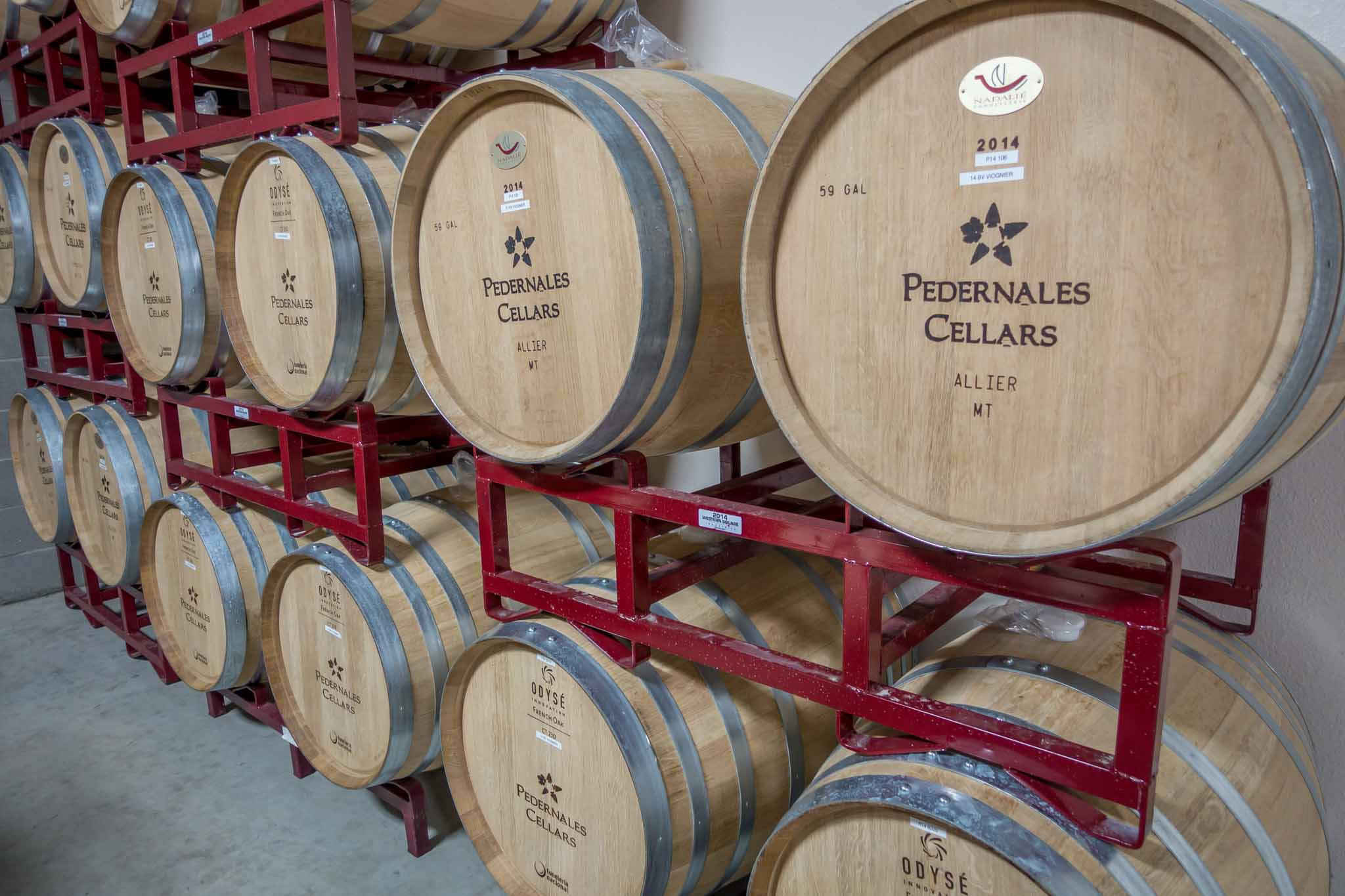 Oak wine barrels ar Pedernales Cellars in Fredericksburg Texas
