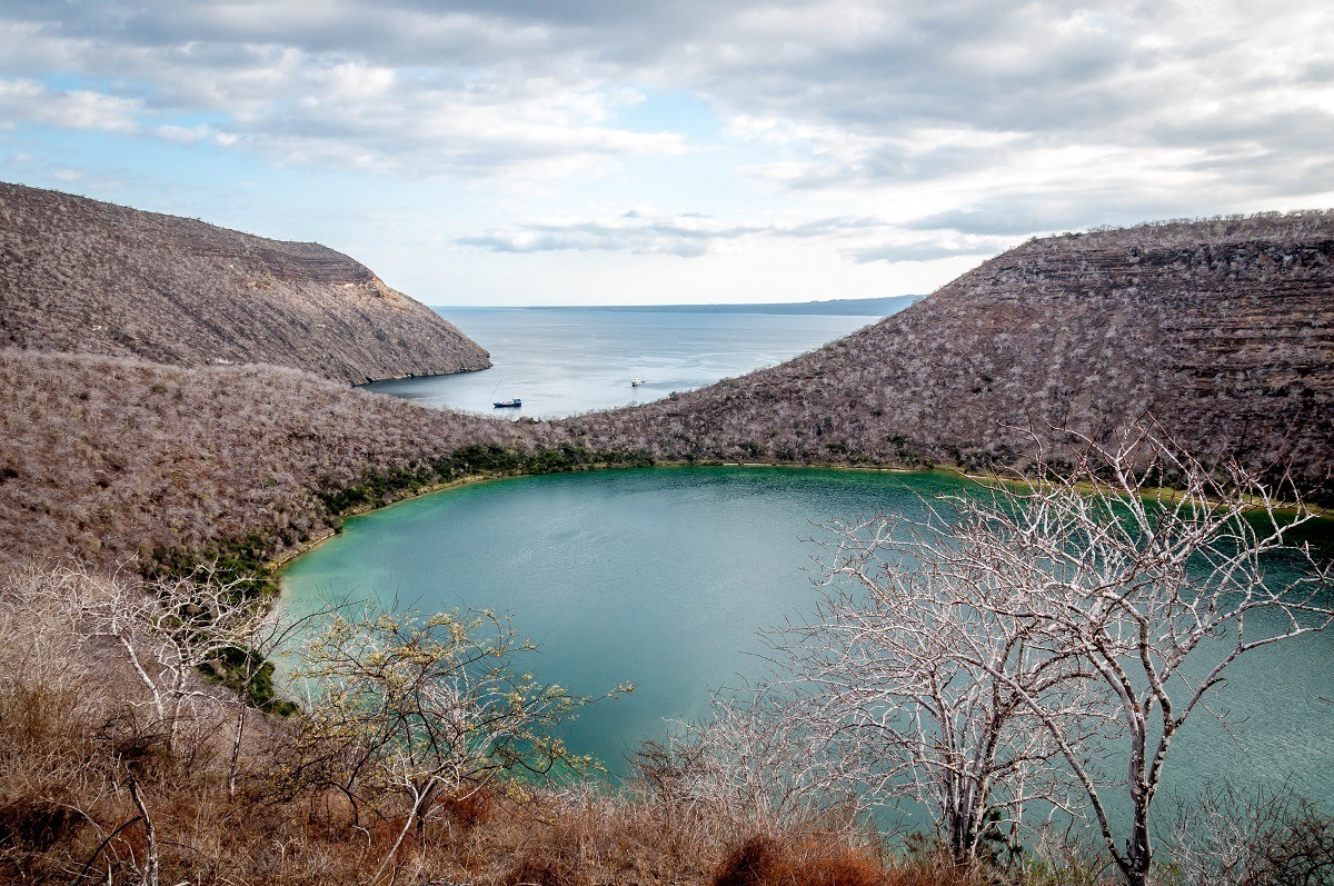 Darwin Lake and Tagus Cove on Isabela Island in the Galapagos Islands, Ecuador