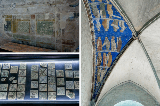 Frescoes and tile at the Palace of the Popes in Avignon, France