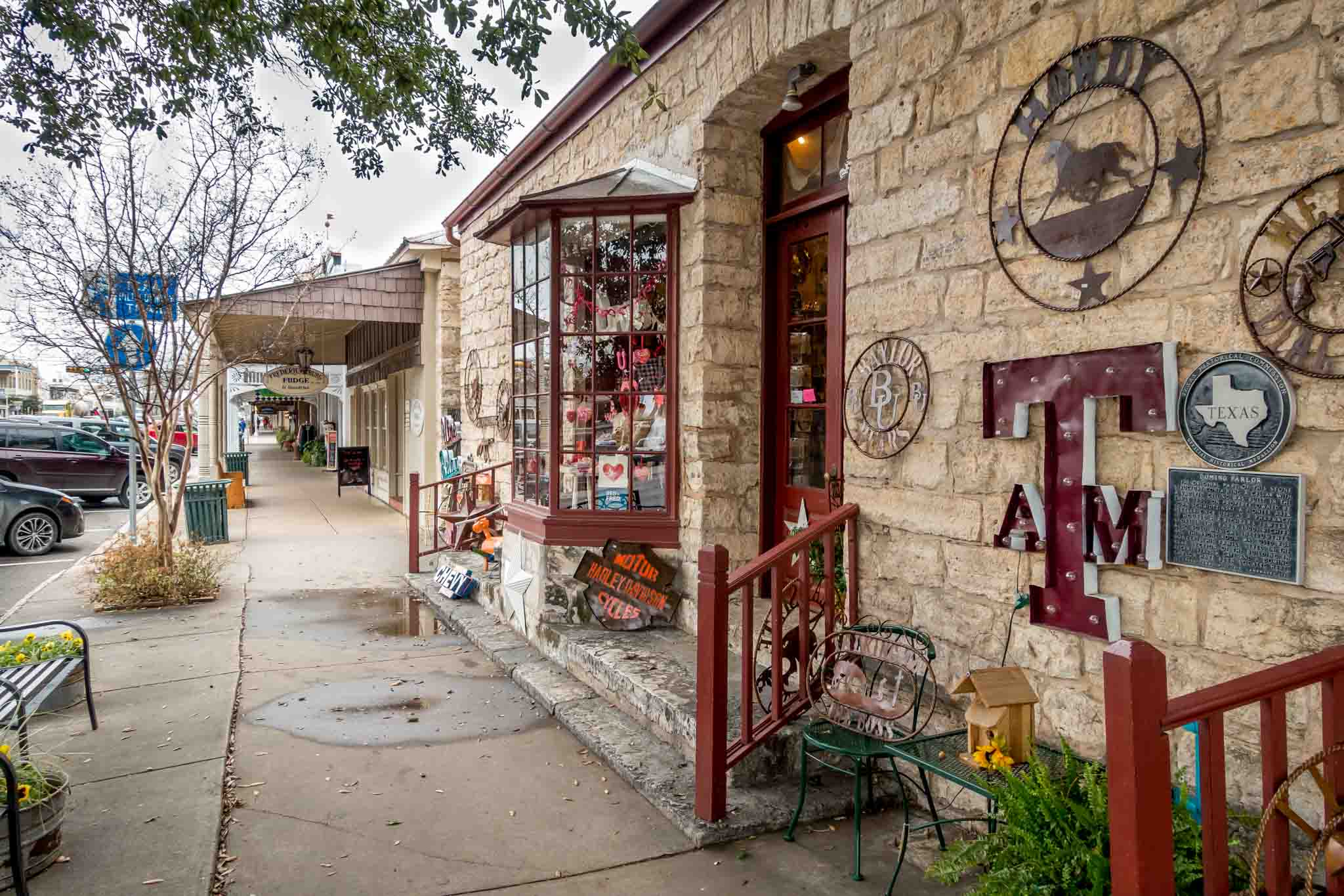 Shops on Main Street in Fredericksburg, part of one of the best Texas road trips