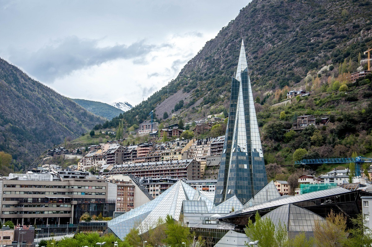 The Caldea-INUU spa complex in Andorra with the Pyrenees Mountains.