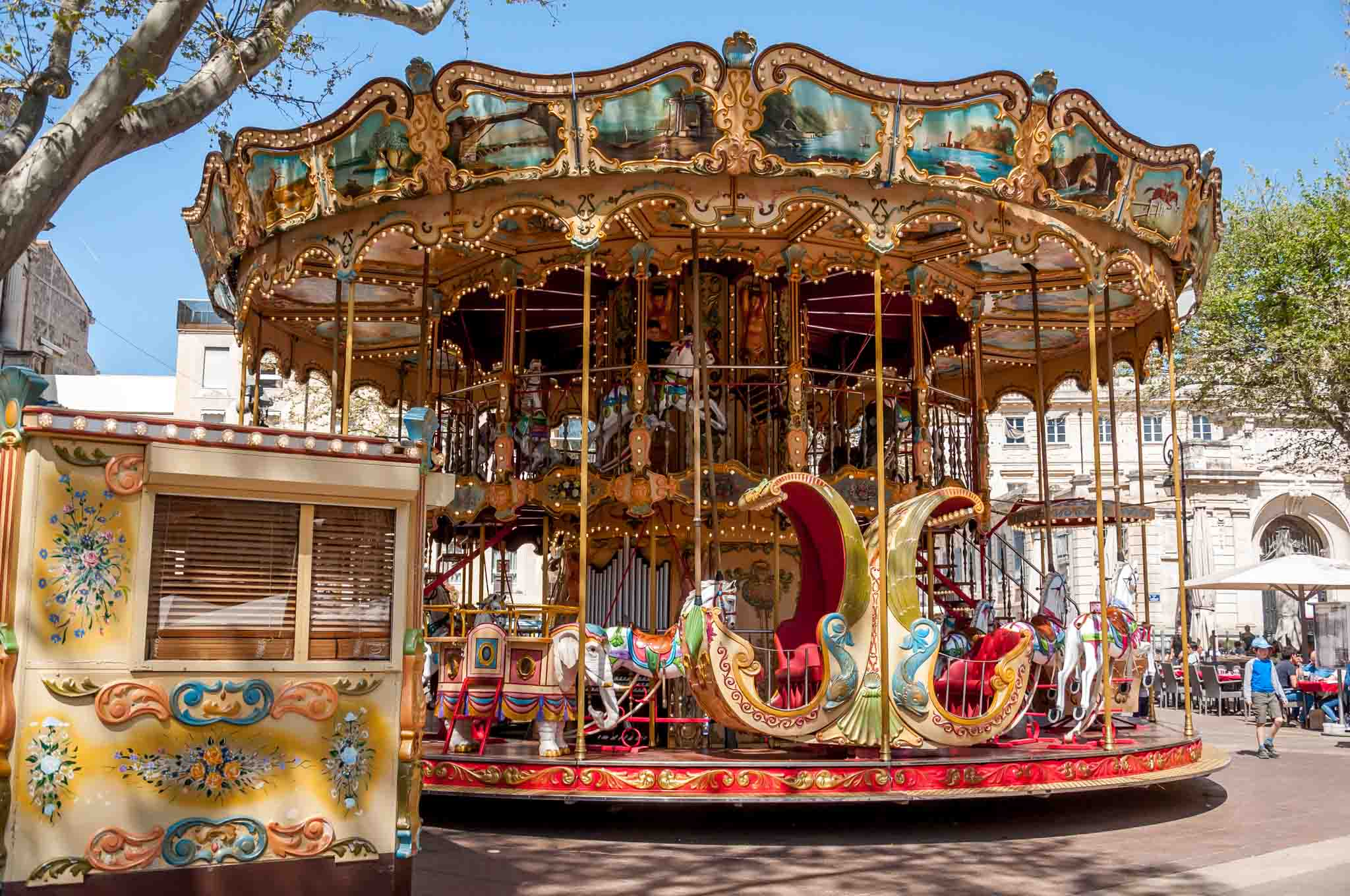 Carousel at the Place de l'Horloge in Avignon, France
