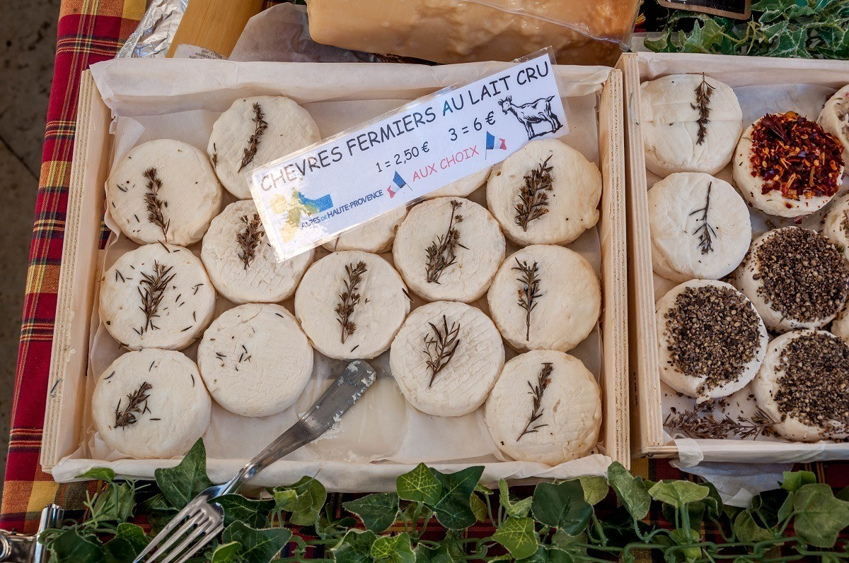 Goat cheese for sale at farmers market