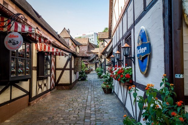 The narrow lanes of the Handwerkerhof in Nuremberg, Germany.  This recreated medieval village is a tourist shopping destination just inside the City Wall.