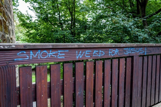 Unusual graffiti in Nuremberg, Germany imploring people to Smoke Weed for Jesus.