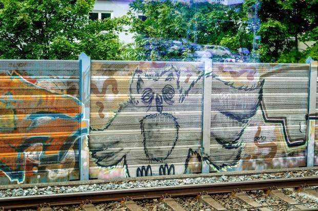 Nuremberg street art on the side of the railway tracks.