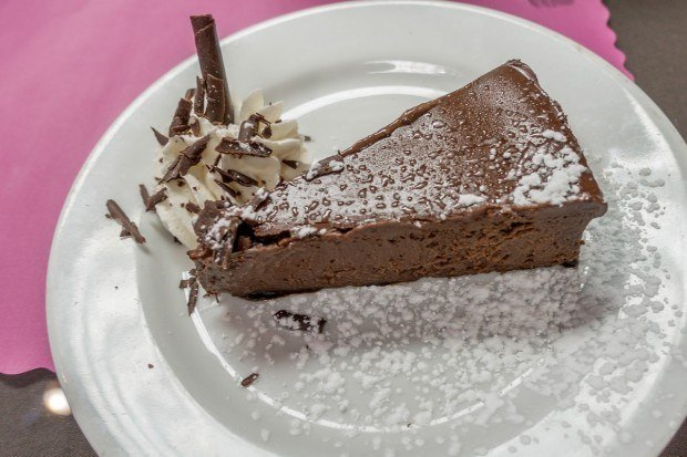 Flourless chocolate cake at Cafe Saint Amand in Gettysburg, Pennsylvania