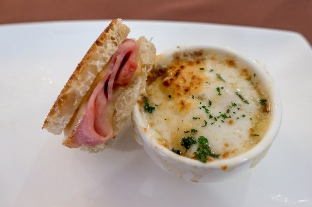 Ham and cheese sandwich and onion soup at One Lincoln in Gettysburg, Pennsylvania