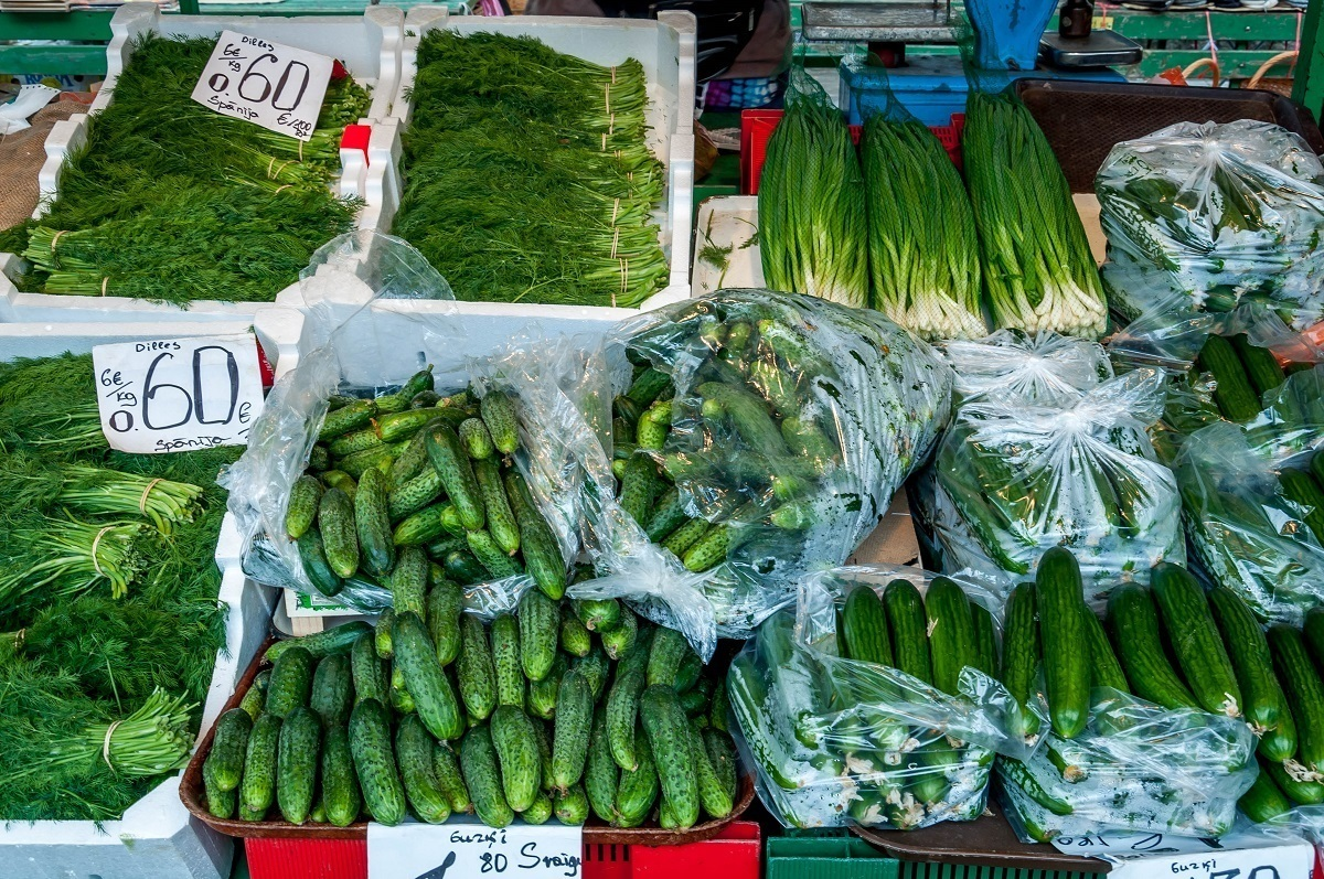 Cucumbers and herbs at the Central Market