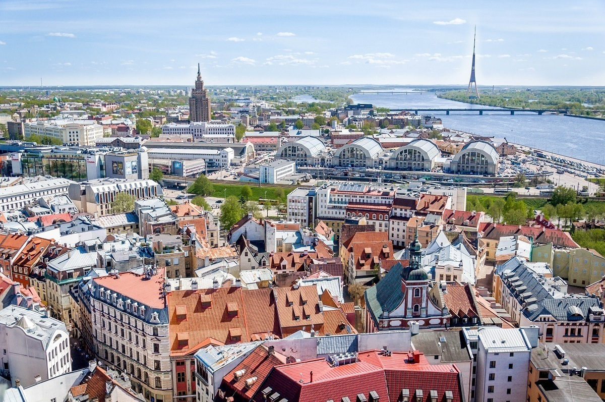 View of Riga Old Town Riga, Lativa from above. This panoramic view of the city from St. Peter's Church is one of the best things to see in Riga.