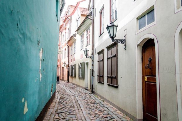 The colorful Troksnu iela is one of the medieval streets behind the original city walls. It's one of the interesting things to see in Latvia.