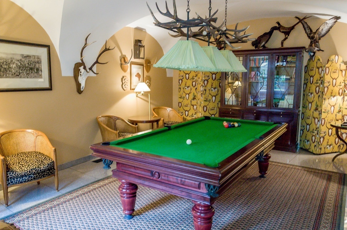 The game room at the Stikliai hotel in Vilnius, Lithuania, is a nice touch in this 5-star hotel