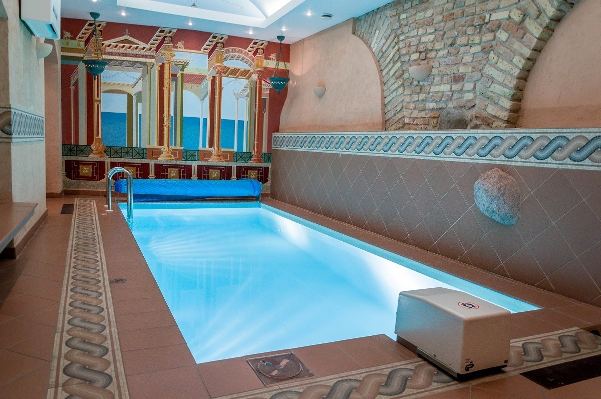 The underground pool at the Stikliai hotel in Vilnius, Lithuania