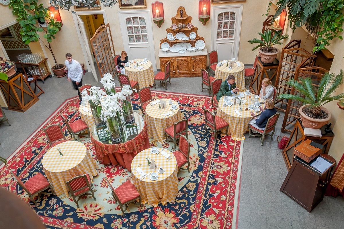 The Stikliai restaurant at the Stikliai hotel in Volnius, Lithuania, is located in the hotel's open inner courtyard