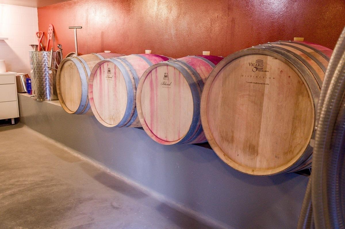 Aging barrels at a winery