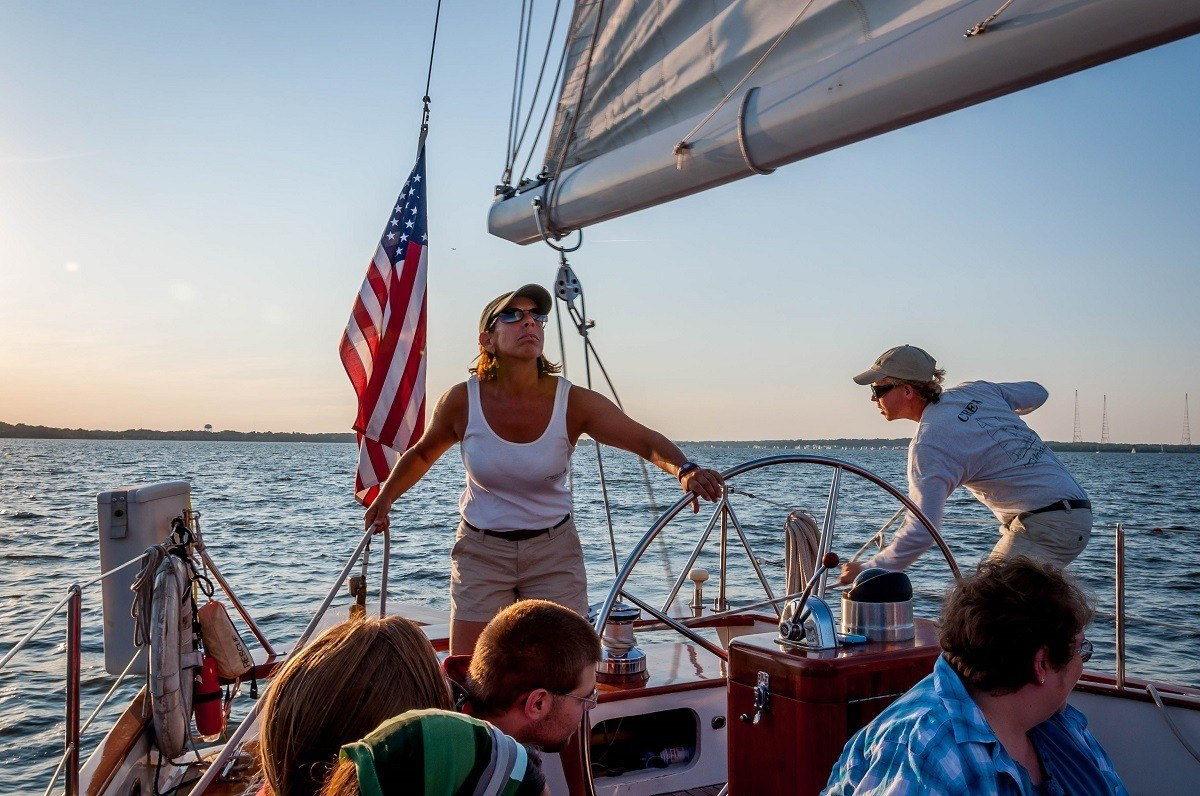 Captain Jen of the schooner Woodwind II in Annapolis, Maryland, during the Wednesday night races