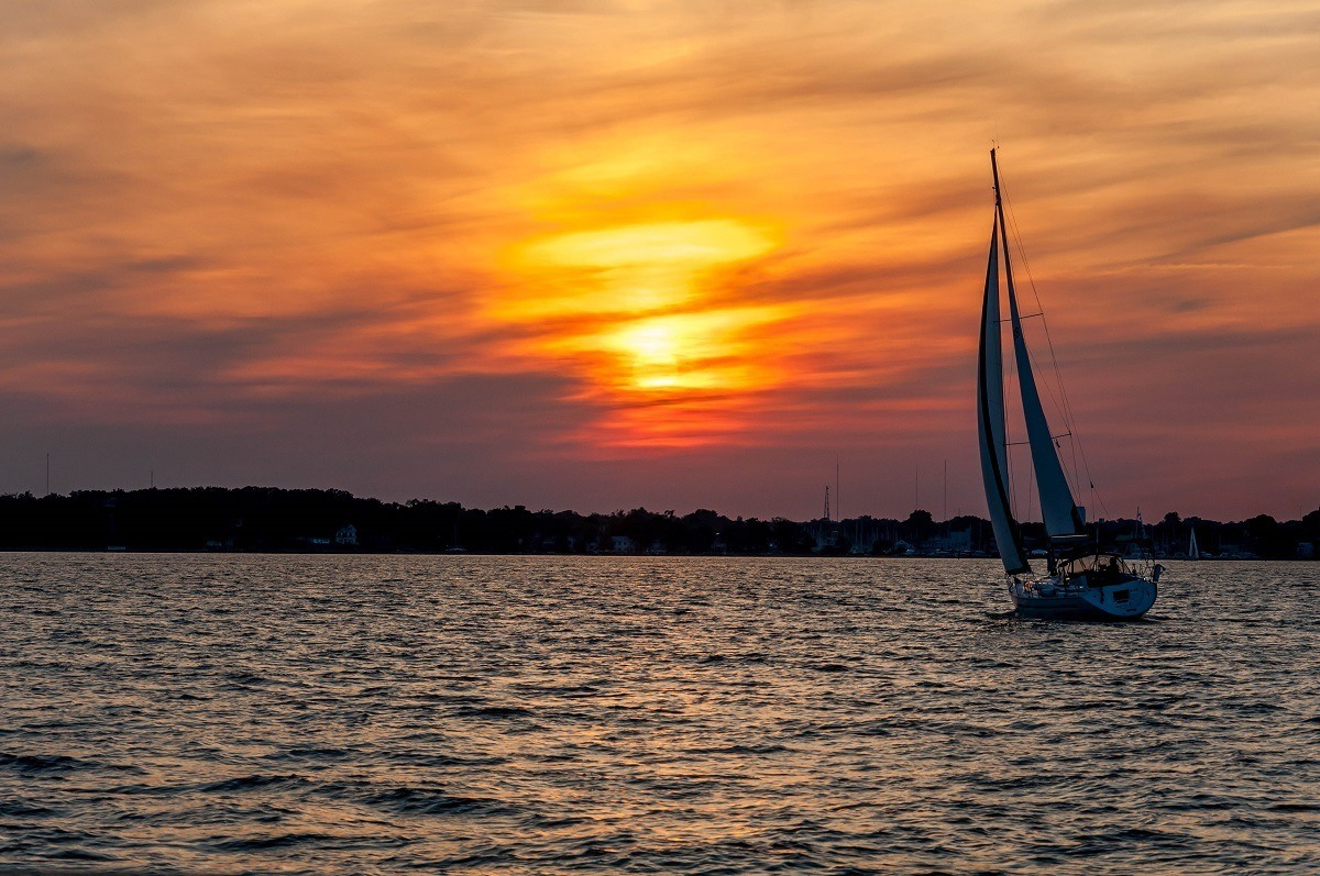 The schooner Woodwind during the summer Wednesday night races in Annapolis, Maryland