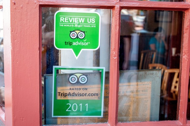The ubiquitous Trip Advisor decals on restaurants and hotels.