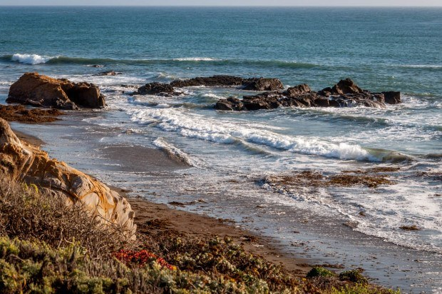 Moonstone Beach below the Sand Pebbles Inn in Cambria.