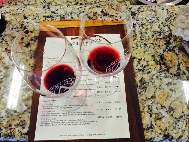 Tasting the red varietals at the Ancient Peaks Winery outside of Paso Robles.
