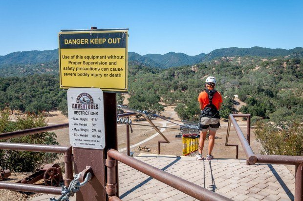 "The top of ""The Renegade,"" the starting point of the Santa Margarita zip line adventure."