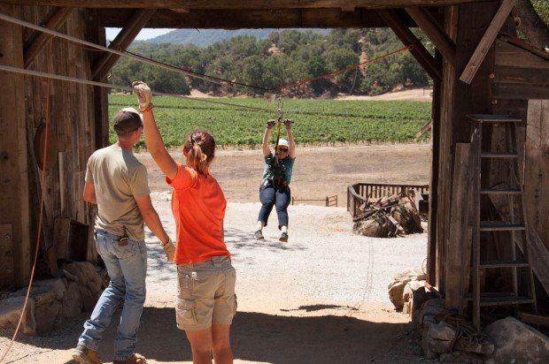 """Laura at the bottom of the """"Pinot Express"""" at the Santa Margarita zip line."""
