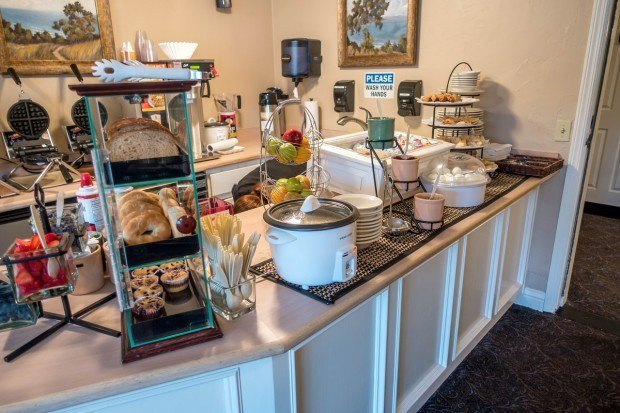 The breakfast room featuring cooked to order waffles at the Sand Pebbles Inn in Cambria.