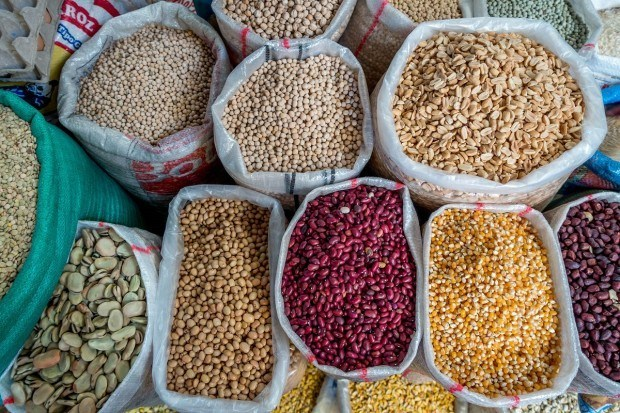 Local beans and grains for sale at the Otavalo Saturday market.