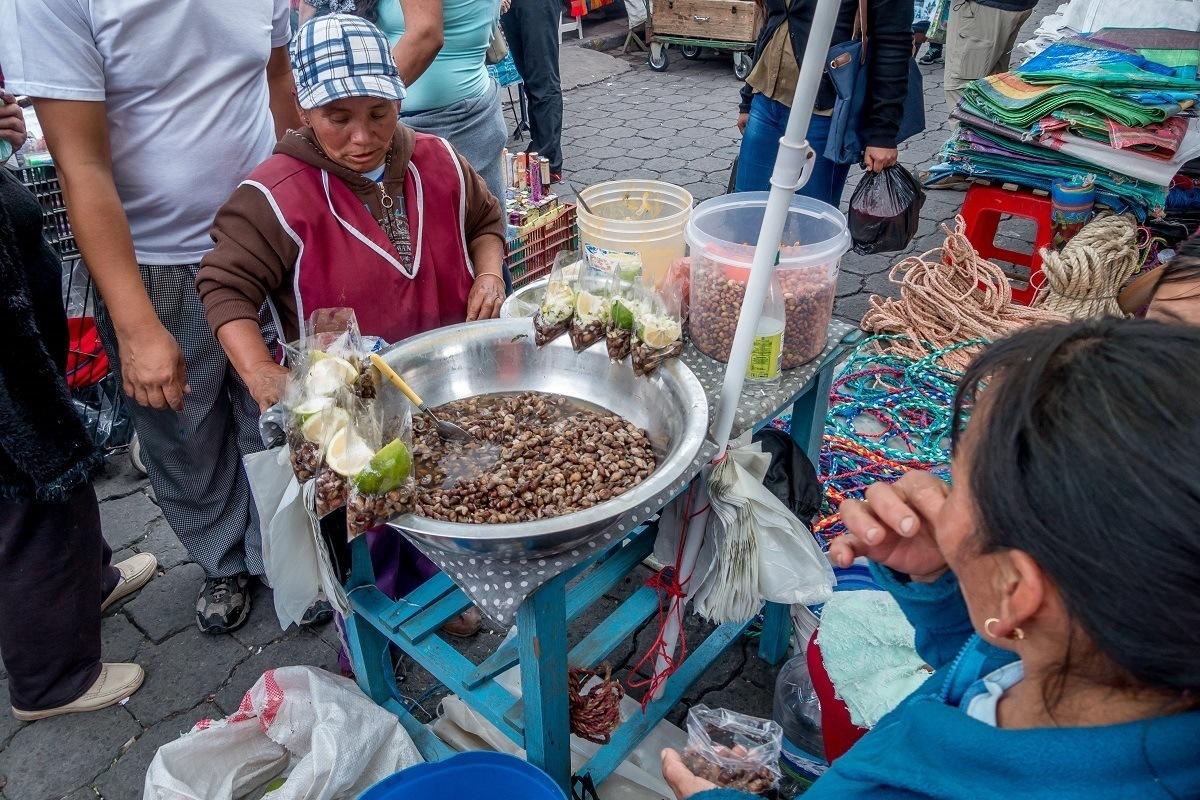Ecuadorian fast food in the local market.