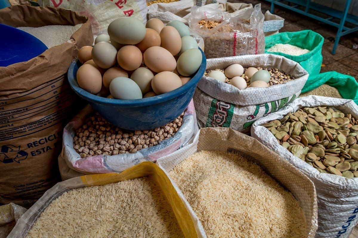 Eggs and grains in the local market.