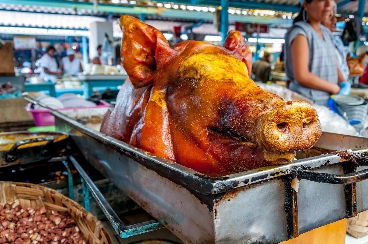 A pig head in Ecuador's Otavalo market.