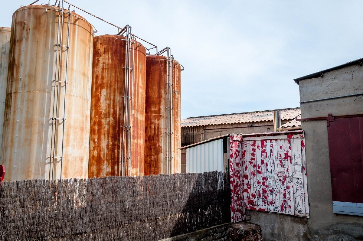 Manguin Distillery in Avignon, France, is known for its Poire Williams Eau de Vie and fruit liqueurs. Many of the products start out in these fermentation tanks.