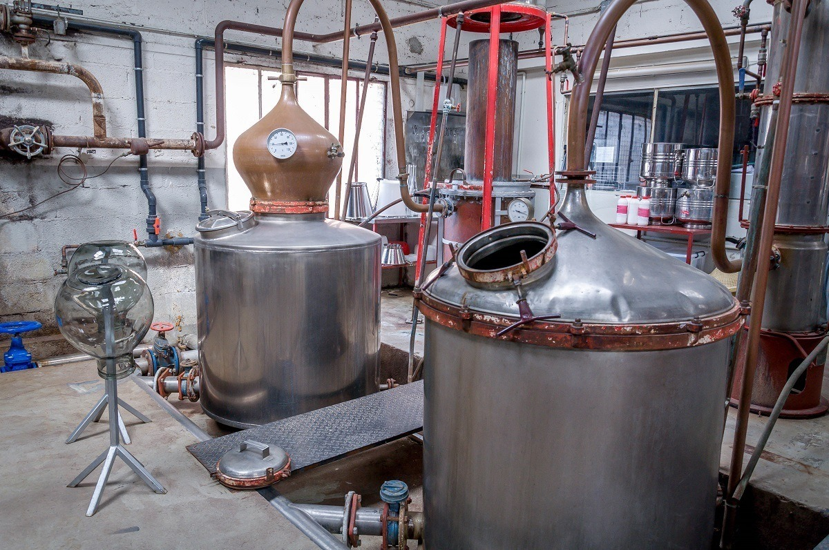 Manguin Distillery in Avignon, France, is known for its Poire Williams Eau de Vie and other liqueurs. Many of the products are made in these stills.