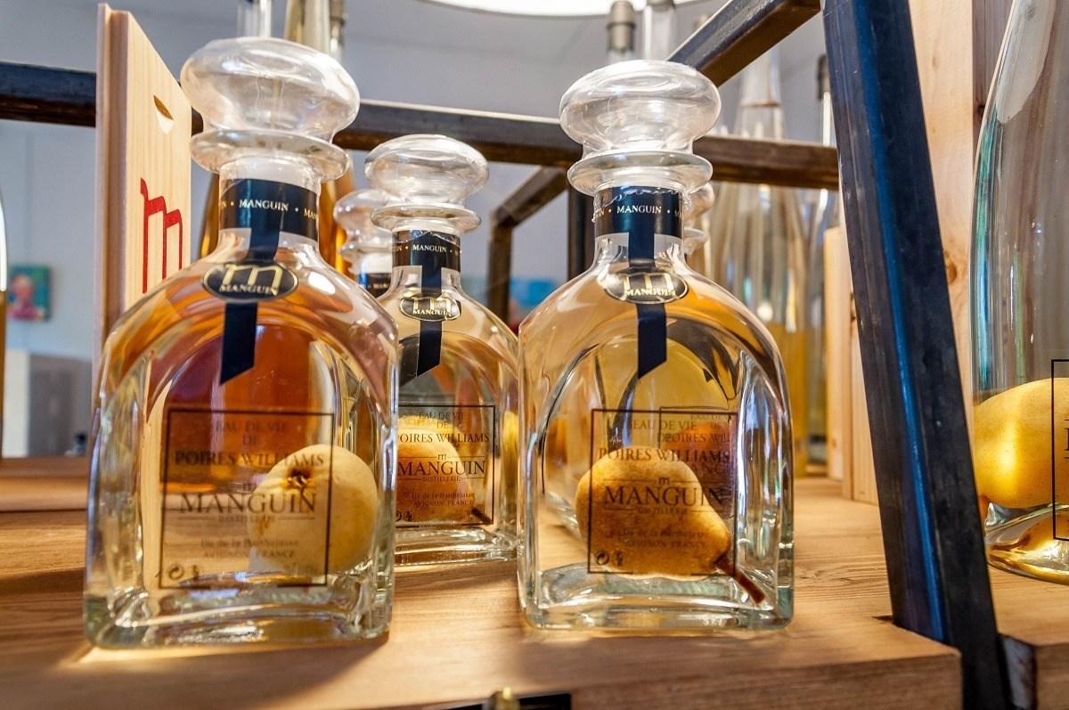Bottled Poire Williams Eau de Vie at Manguin Distillery