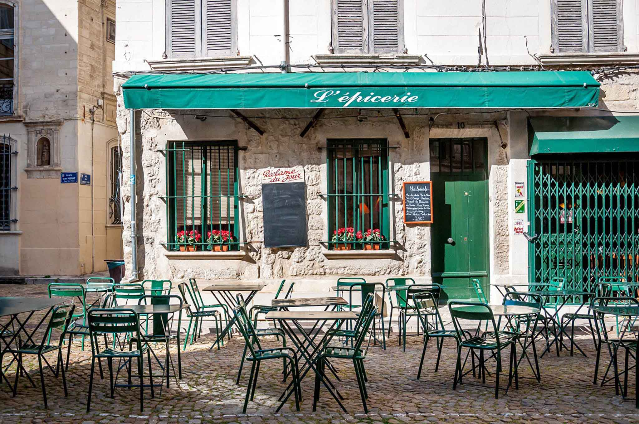 One of the many cute cafes in Avignon, France