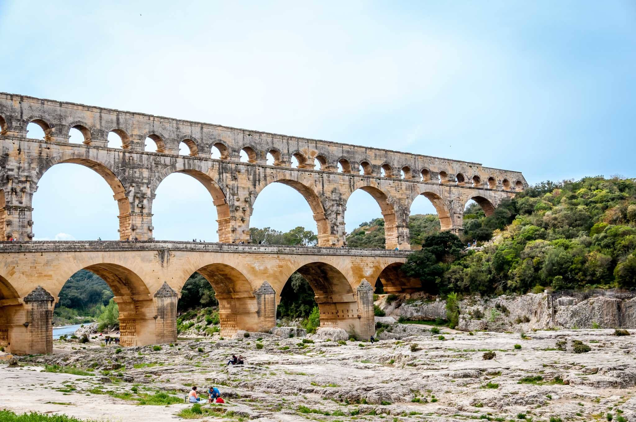 Arches of the ancient aqueduct, the Pont du Gard, over the Gardon River