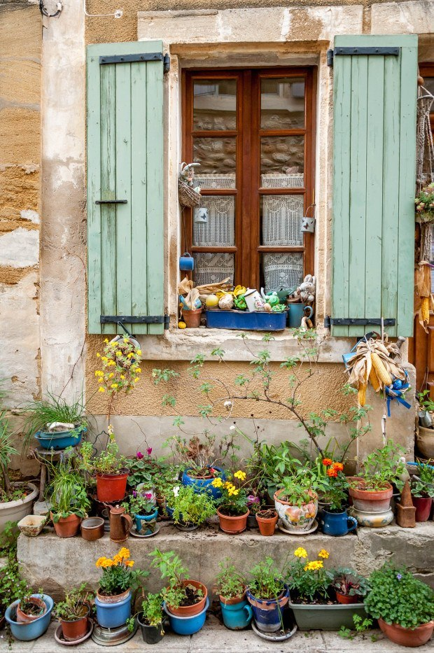 Colorful window in Gigondas, France