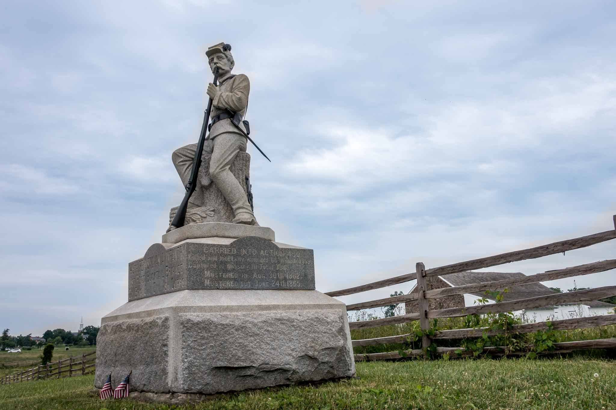 Statue of a soldier on the Civil War battlefield in Gettysburg, Pennsylvania