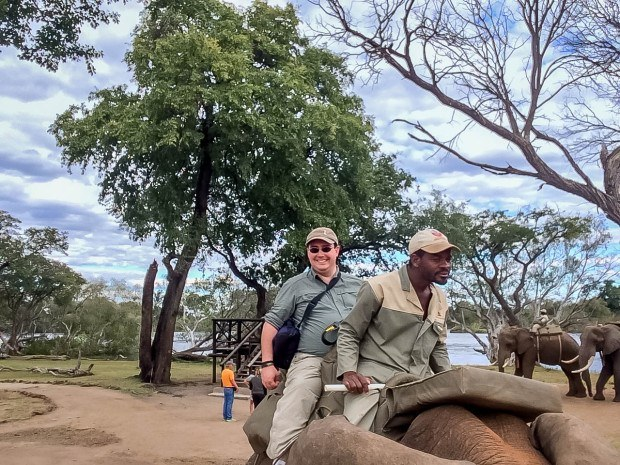 "Getting ready to begin an elephant ride in Zambia. Elephant rides may sound like fun, but it's important to consider how the animals are treated at all stages of ""training."" Long story short: elephants aren't meant to be ridden."