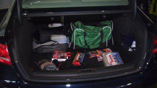 The Roadside Emergency Kit in the trunk.