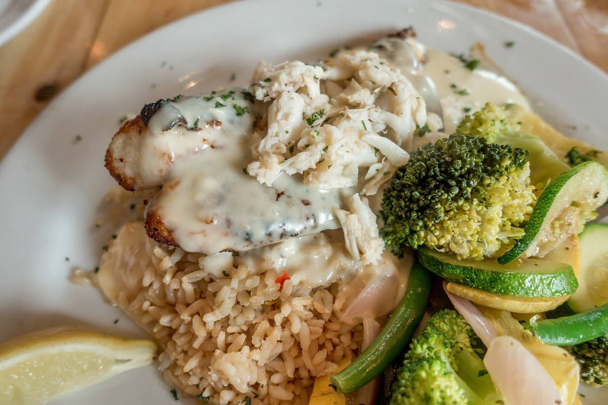 Rockfish topped with crab at the Boatyard Bar and Grill in Annapolis, Maryland