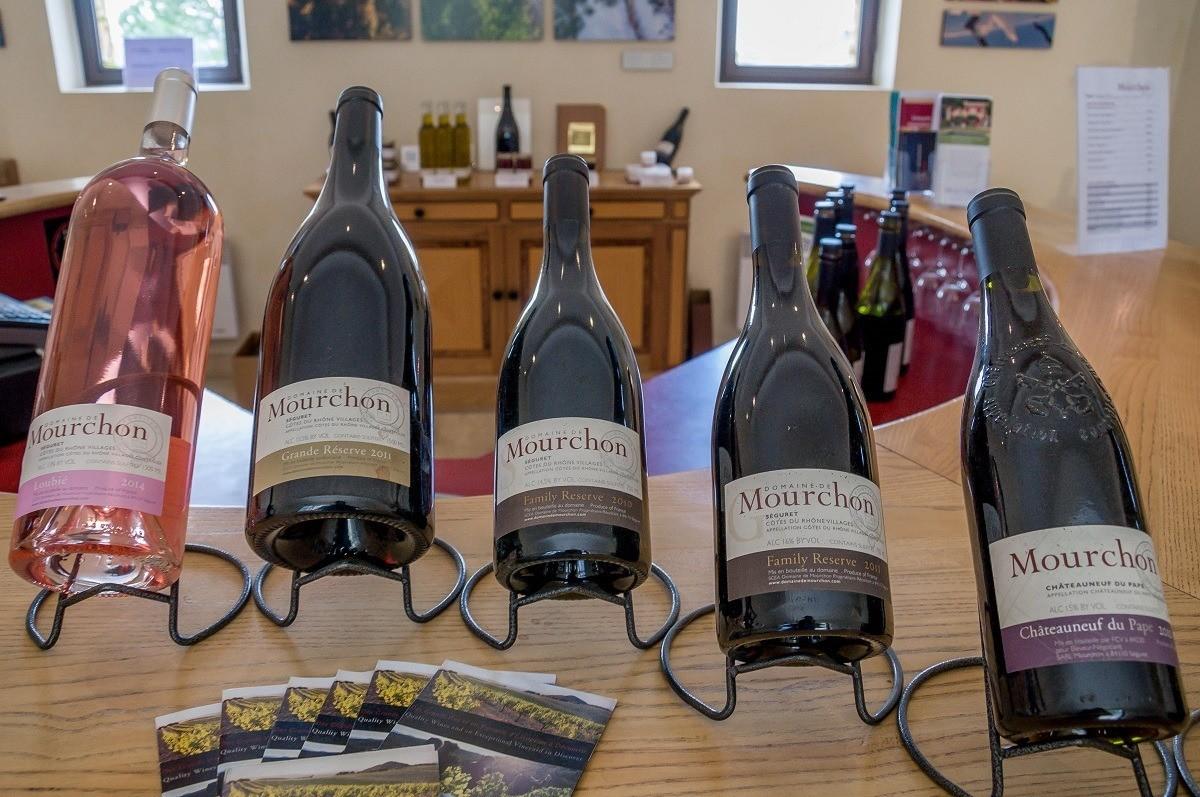 Cotes du Rhone wines at Domaine de Mourchon in Seguret, France