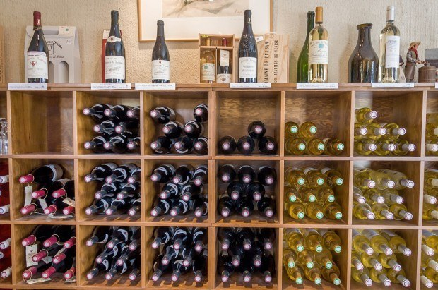 Wines for sale at the Domaine de Durban in the Cotes du Rhone region of France
