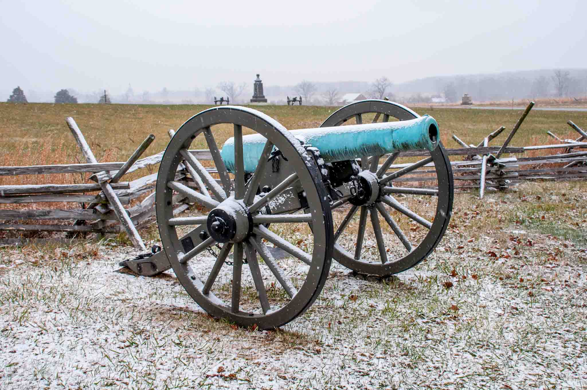 Cannon on the Gettysburg Battlefield covered in snow