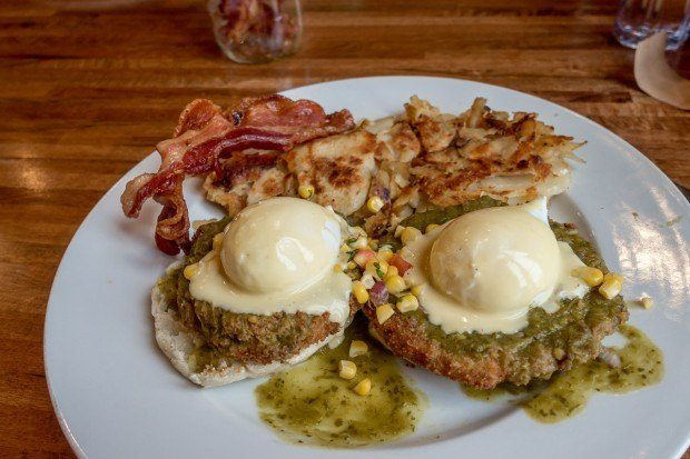 The delicious Ranchers Benny at Iron Rooster in Annapolis, Maryland