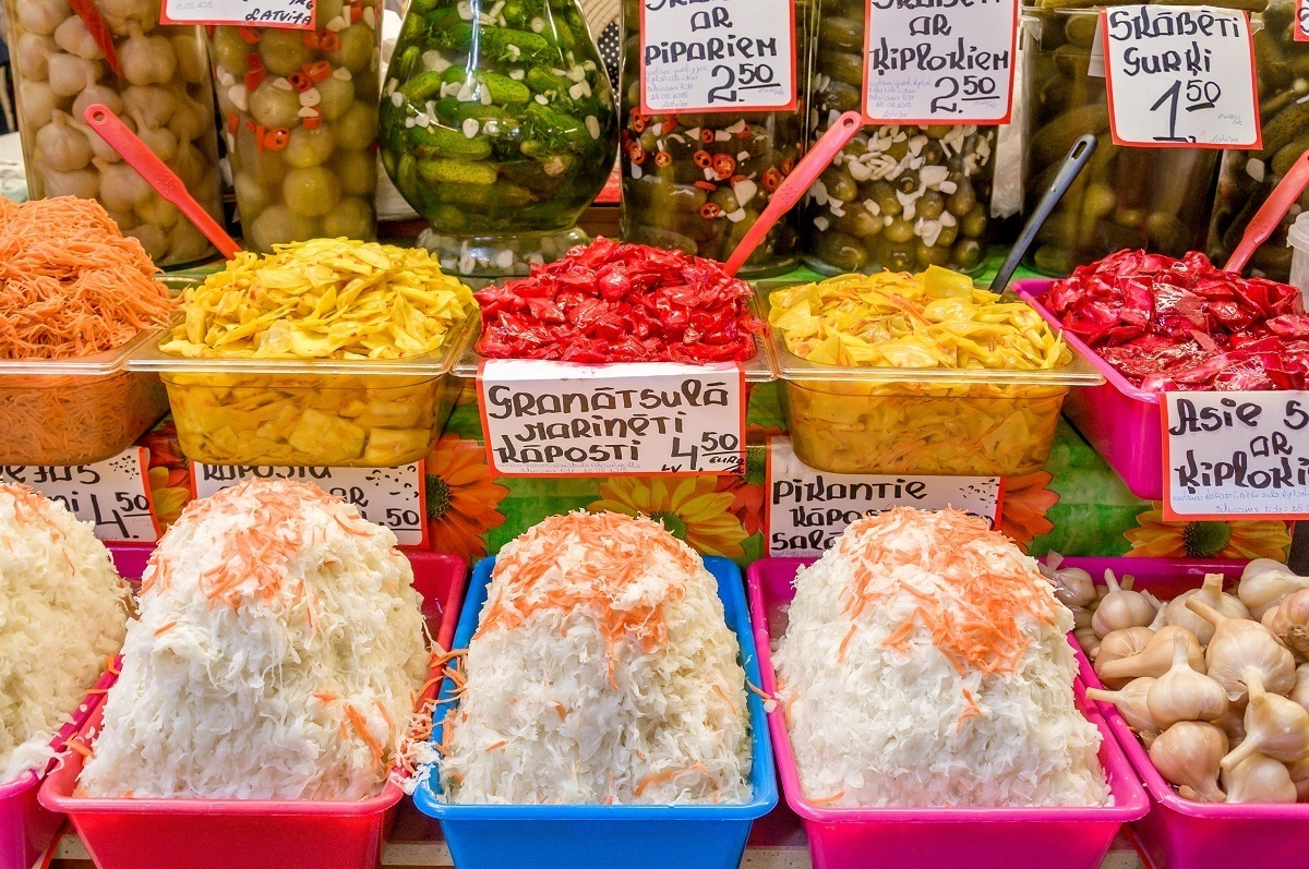 Pickles and coleslaw at a food market in Latvia
